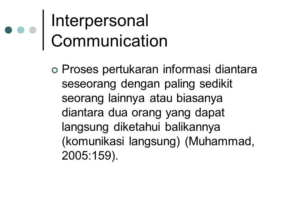 Interpersonal Communication Proses pertukaran informasi diantara seseorang dengan paling sedikit seorang lainnya atau biasanya diantara dua orang yang dapat langsung diketahui balikannya (komunikasi langsung) (Muhammad, 2005:159).
