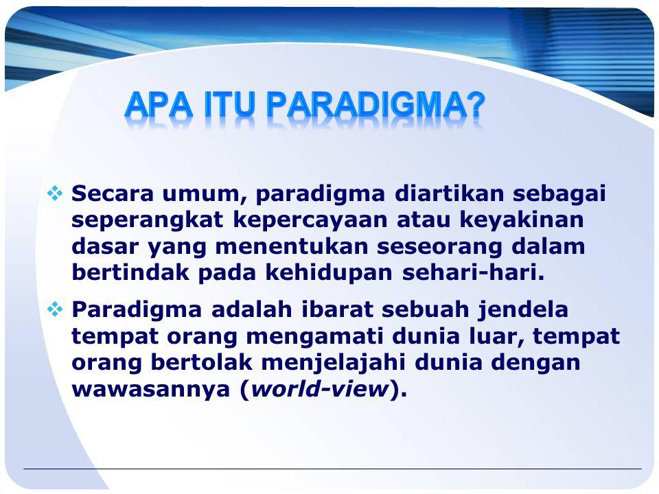  Secara umum, paradigma diartikan sebagai seperangkat kepercayaan atau keyakinan dasar yang menentukan seseorang dalam bertindak pada kehidupan sehari-hari.