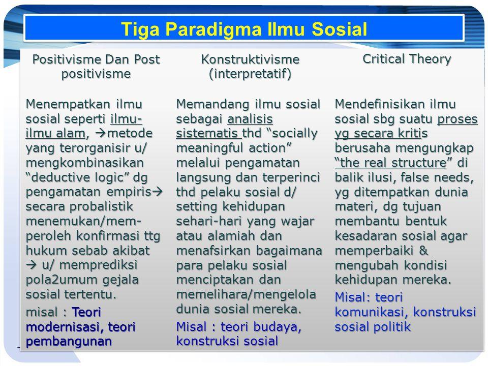 Tiga Paradigma Ilmu Sosial