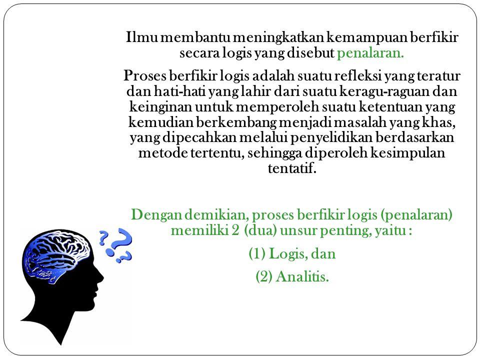 Ilmu membantu meningkatkan kemampuan berfikir secara logis yang disebut penalaran.