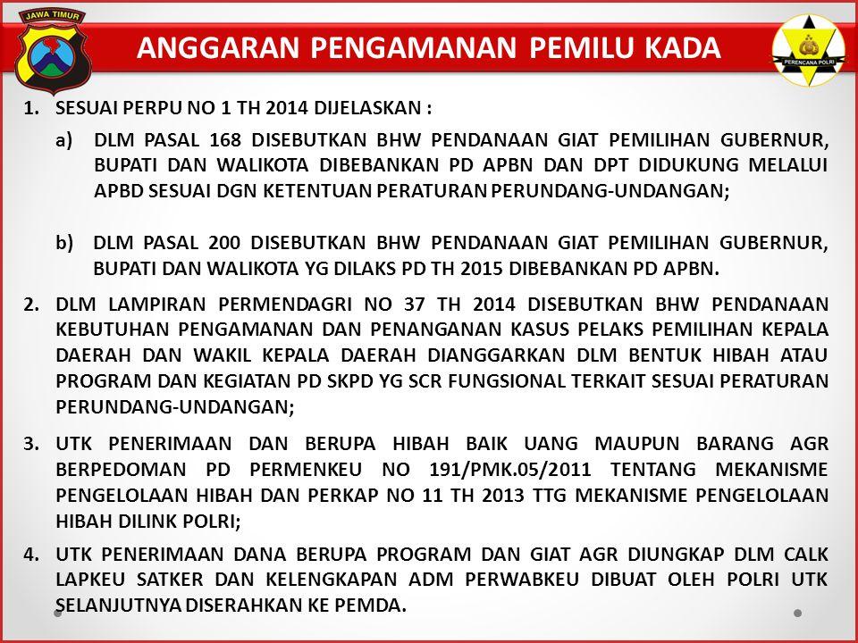 ANGGARAN PENGAMANAN PEMILU KADA 1.SESUAI PERPU NO 1 TH 2014 DIJELASKAN : a)DLM PASAL 168 DISEBUTKAN BHW PENDANAAN GIAT PEMILIHAN GUBERNUR, BUPATI DAN