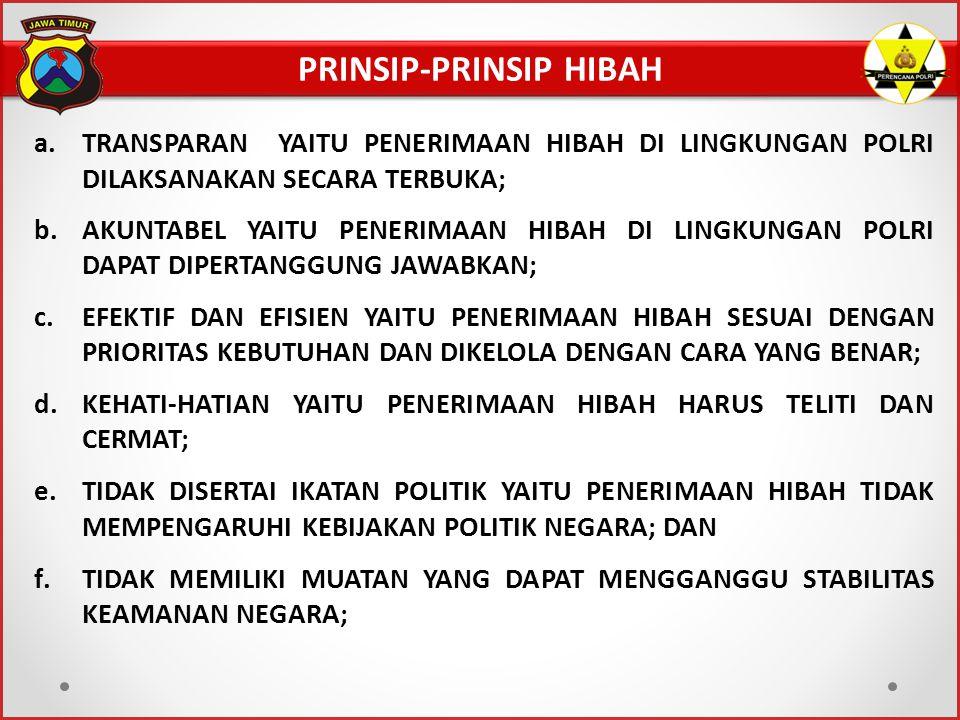 PRINSIP-PRINSIP HIBAH a.TRANSPARAN YAITU PENERIMAAN HIBAH DI LINGKUNGAN POLRI DILAKSANAKAN SECARA TERBUKA; b.AKUNTABEL YAITU PENERIMAAN HIBAH DI LINGK