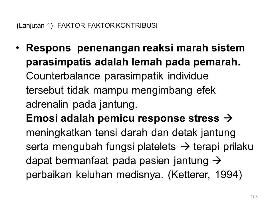 (Lanjutan-1) FAKTOR-FAKTOR KONTRIBUSI Respons penenangan reaksi marah sistem parasimpatis adalah lemah pada pemarah.
