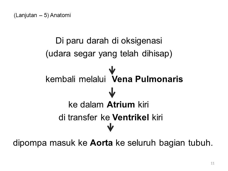 (Lanjutan – 5) Anatomi Di paru darah di oksigenasi (udara segar yang telah dihisap) kembali melalui Vena Pulmonaris ke dalam Atrium kiri di transfer ke Ventrikel kiri dipompa masuk ke Aorta ke seluruh bagian tubuh.