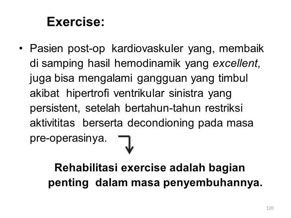Exercise: Pasien post-op kardiovaskuler yang, membaik di samping hasil hemodinamik yang excellent, juga bisa mengalami gangguan yang timbul akibat hipertrofi ventrikular sinistra yang persistent, setelah bertahun-tahun restriksi aktivititas berserta decondioning pada masa pre-operasinya.