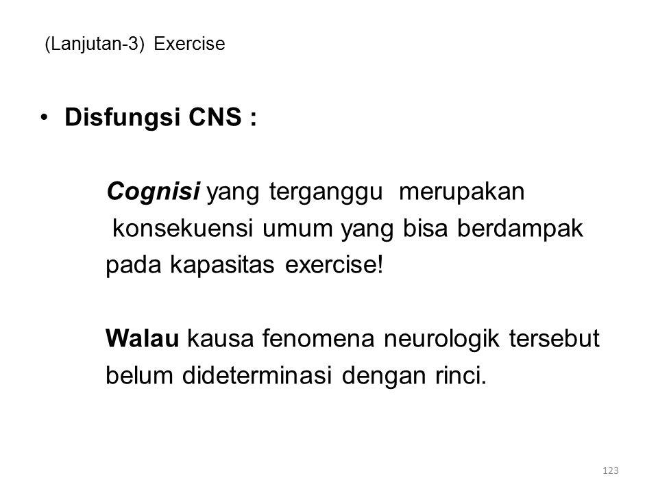 (Lanjutan-3) Exercise Disfungsi CNS : Cognisi yang terganggu merupakan konsekuensi umum yang bisa berdampak pada kapasitas exercise.