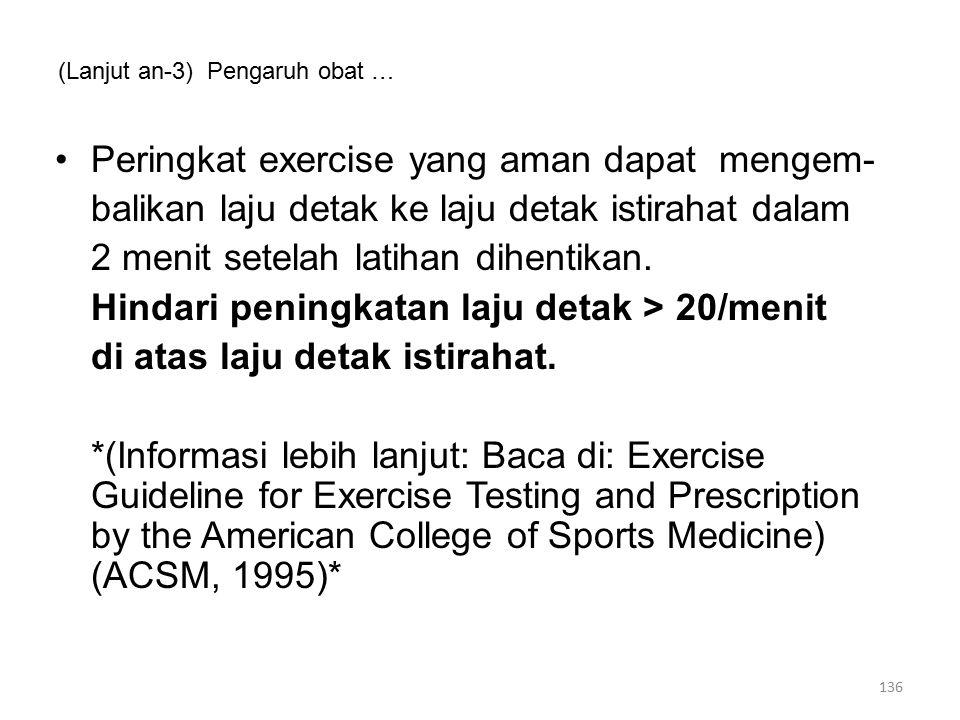 (Lanjut an-3) Pengaruh obat … Peringkat exercise yang aman dapat mengem- balikan laju detak ke laju detak istirahat dalam 2 menit setelah latihan dihentikan.