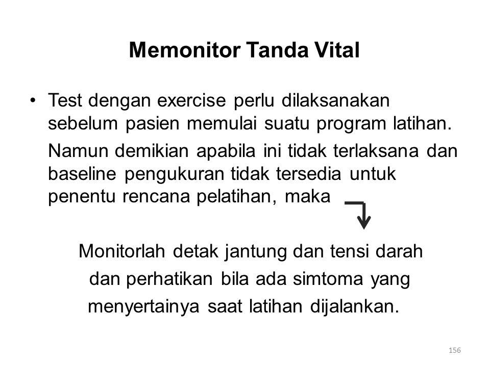 Memonitor Tanda Vital Test dengan exercise perlu dilaksanakan sebelum pasien memulai suatu program latihan.