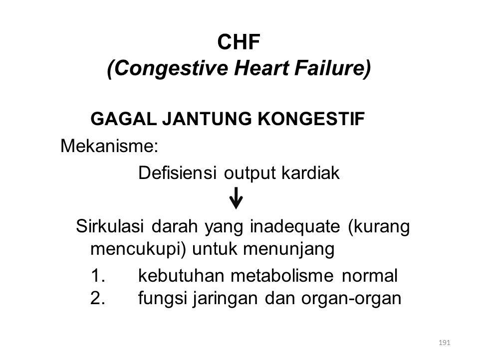 CHF (Congestive Heart Failure) GAGAL JANTUNG KONGESTIF Mekanisme: Defisiensi output kardiak Sirkulasi darah yang inadequate (kurang mencukupi) untuk menunjang 1.kebutuhan metabolisme normal 2.fungsi jaringan dan organ-organ 191