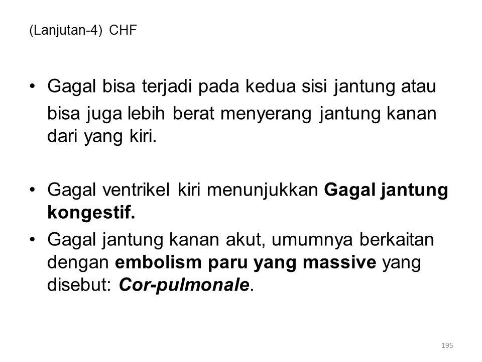 (Lanjutan-4) CHF Gagal bisa terjadi pada kedua sisi jantung atau bisa juga lebih berat menyerang jantung kanan dari yang kiri.