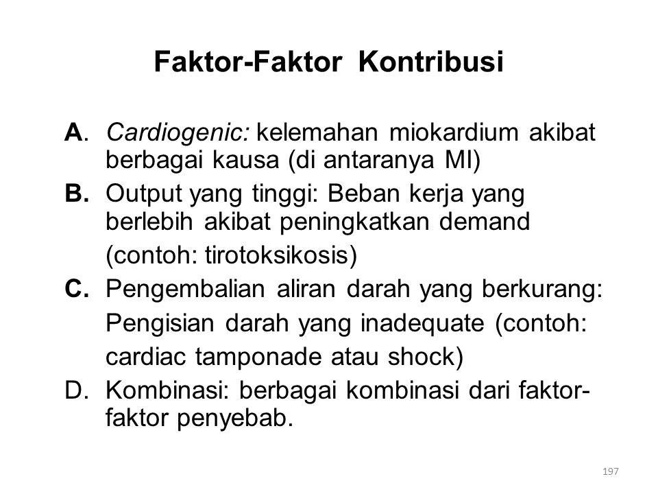 Faktor-Faktor Kontribusi A.Cardiogenic: kelemahan miokardium akibat berbagai kausa (di antaranya MI) B.Output yang tinggi: Beban kerja yang berlebih akibat peningkatkan demand (contoh: tirotoksikosis) C.Pengembalian aliran darah yang berkurang: Pengisian darah yang inadequate (contoh: cardiac tamponade atau shock) D.Kombinasi: berbagai kombinasi dari faktor- faktor penyebab.