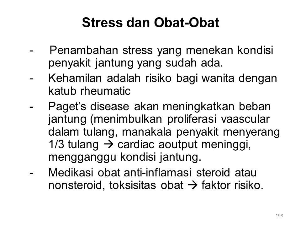 Stress dan Obat-Obat - Penambahan stress yang menekan kondisi penyakit jantung yang sudah ada.