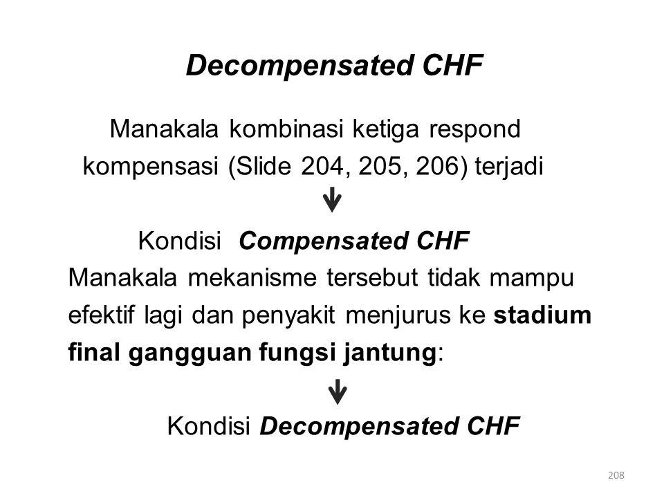 Decompensated CHF Manakala kombinasi ketiga respond kompensasi (Slide 204, 205, 206) terjadi Kondisi Compensated CHF Manakala mekanisme tersebut tidak mampu efektif lagi dan penyakit menjurus ke stadium final gangguan fungsi jantung: Kondisi Decompensated CHF 208