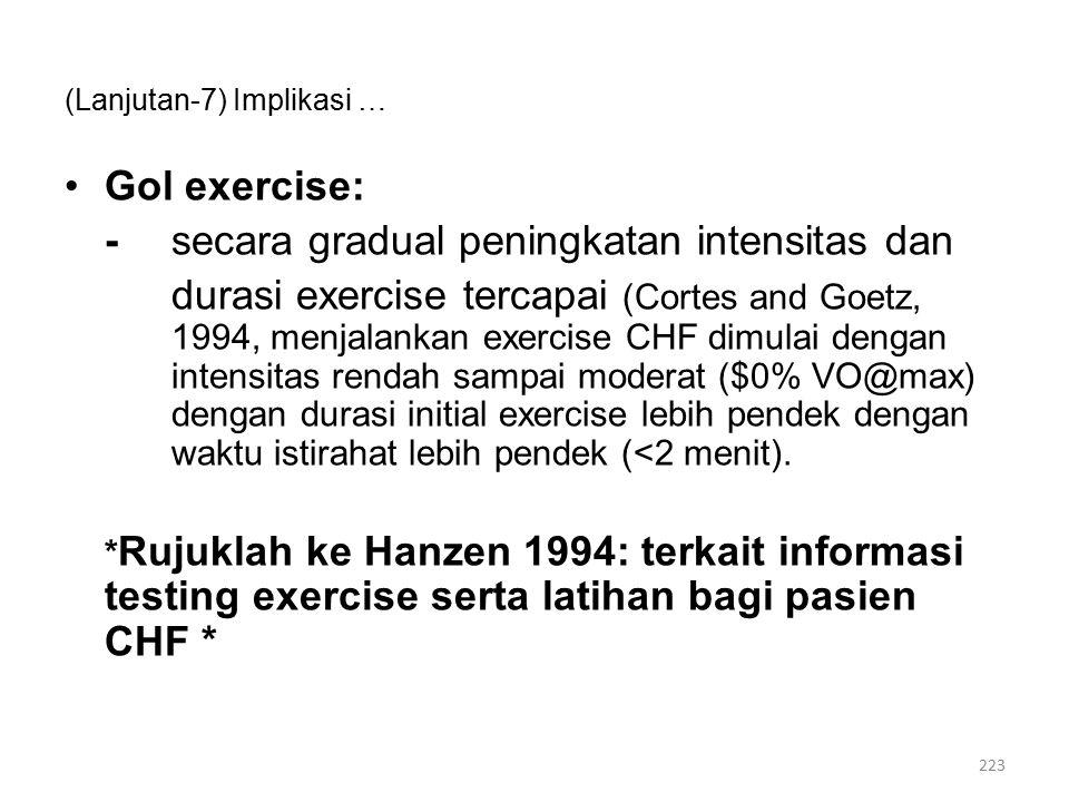 (Lanjutan-7) Implikasi … Gol exercise: -secara gradual peningkatan intensitas dan durasi exercise tercapai (Cortes and Goetz, 1994, menjalankan exercise CHF dimulai dengan intensitas rendah sampai moderat ($0% VO@max) dengan durasi initial exercise lebih pendek dengan waktu istirahat lebih pendek (<2 menit).