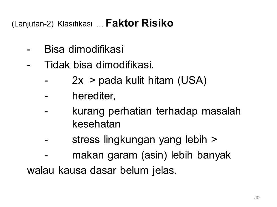 (Lanjutan-2) Klasifikasi … Faktor Risiko -Bisa dimodifikasi -Tidak bisa dimodifikasi.