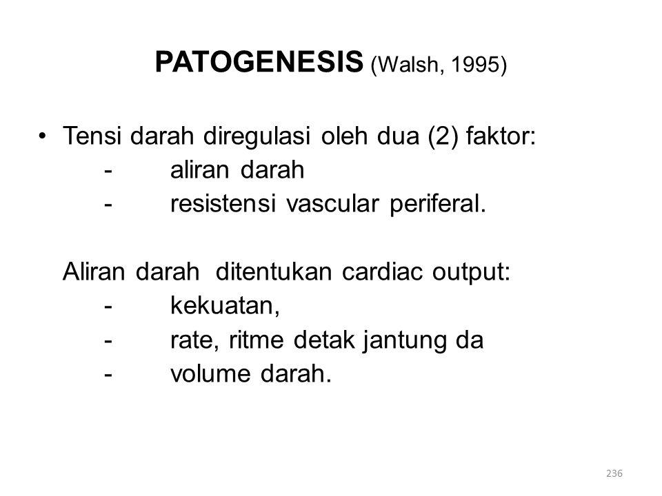 PATOGENESIS (Walsh, 1995) Tensi darah diregulasi oleh dua (2) faktor: -aliran darah - resistensi vascular periferal.