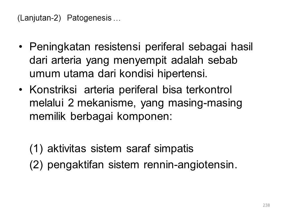 (Lanjutan-2) Patogenesis … Peningkatan resistensi periferal sebagai hasil dari arteria yang menyempit adalah sebab umum utama dari kondisi hipertensi.