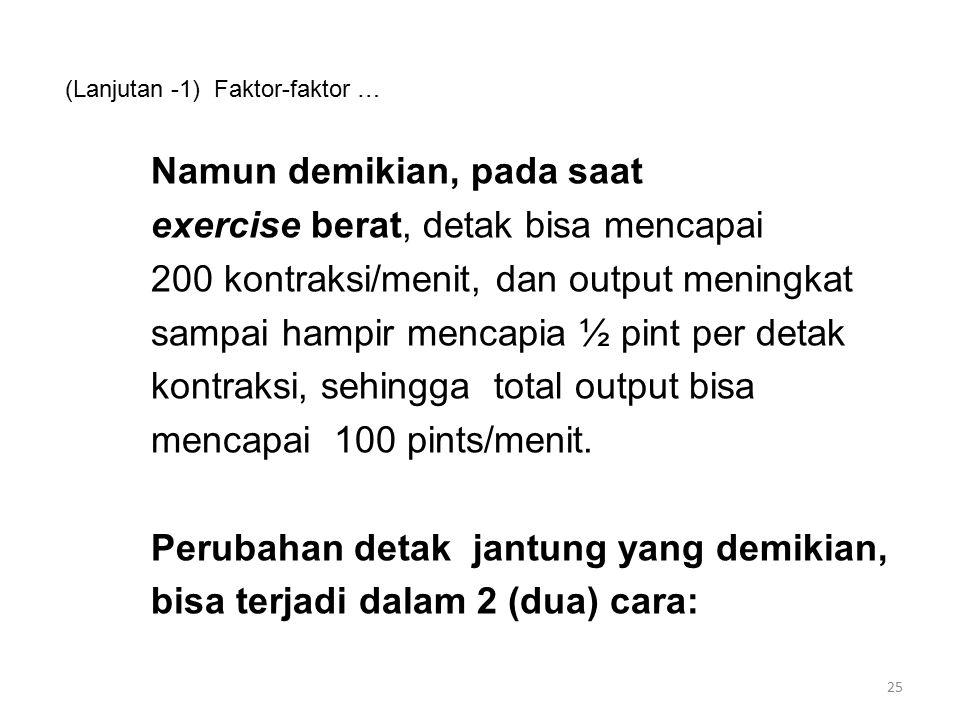 (Lanjutan -1) Faktor-faktor … Namun demikian, pada saat exercise berat, detak bisa mencapai 200 kontraksi/menit, dan output meningkat sampai hampir mencapia ½ pint per detak kontraksi, sehingga total output bisa mencapai 100 pints/menit.