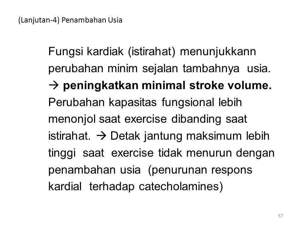 (Lanjutan-4) Penambahan Usia Fungsi kardiak (istirahat) menunjukkann perubahan minim sejalan tambahnya usia.