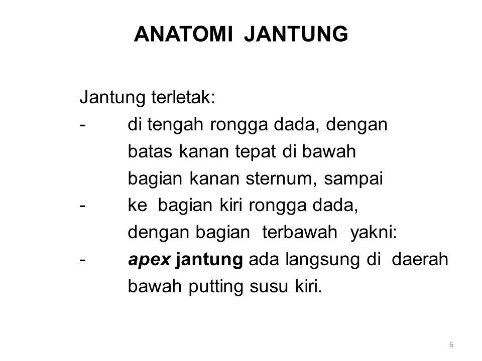 (Lanjutan – 1) Anatomi Jantung terdiri dari -Otot (bagian terbesar) (Myocradium) -Katub (Valves) pengontrol aliran -Lapisan pembungkus parietal Pericardium dan visceral pericardium yang disebut: Epicardium.