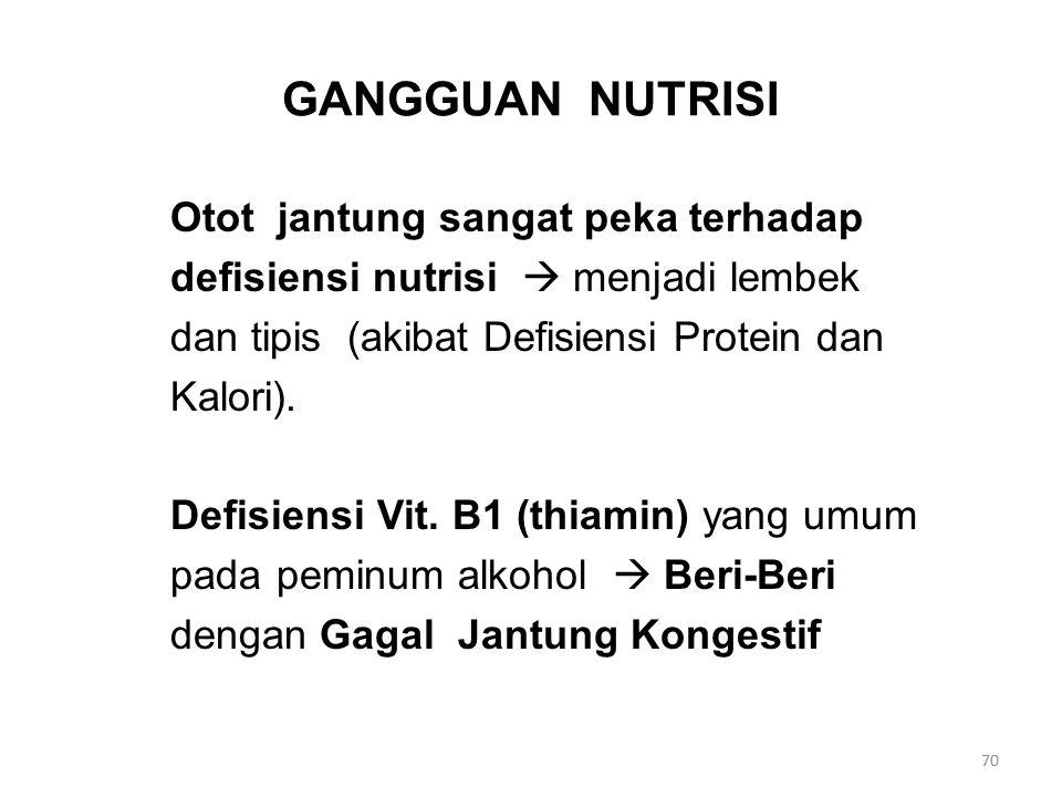 GANGGUAN NUTRISI Otot jantung sangat peka terhadap defisiensi nutrisi  menjadi lembek dan tipis (akibat Defisiensi Protein dan Kalori).