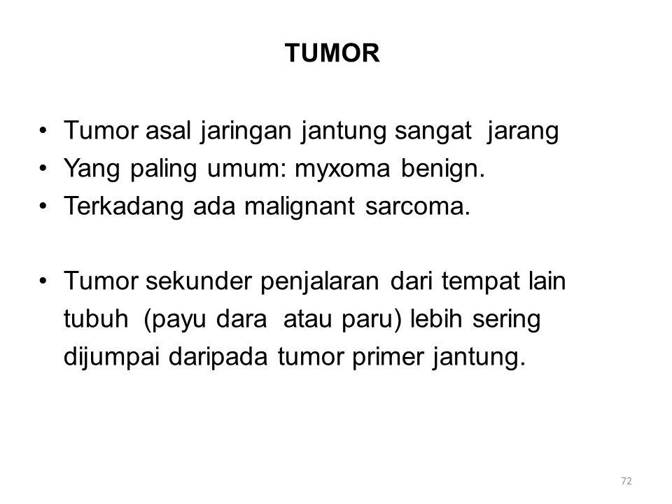 TUMOR Tumor asal jaringan jantung sangat jarang Yang paling umum: myxoma benign.