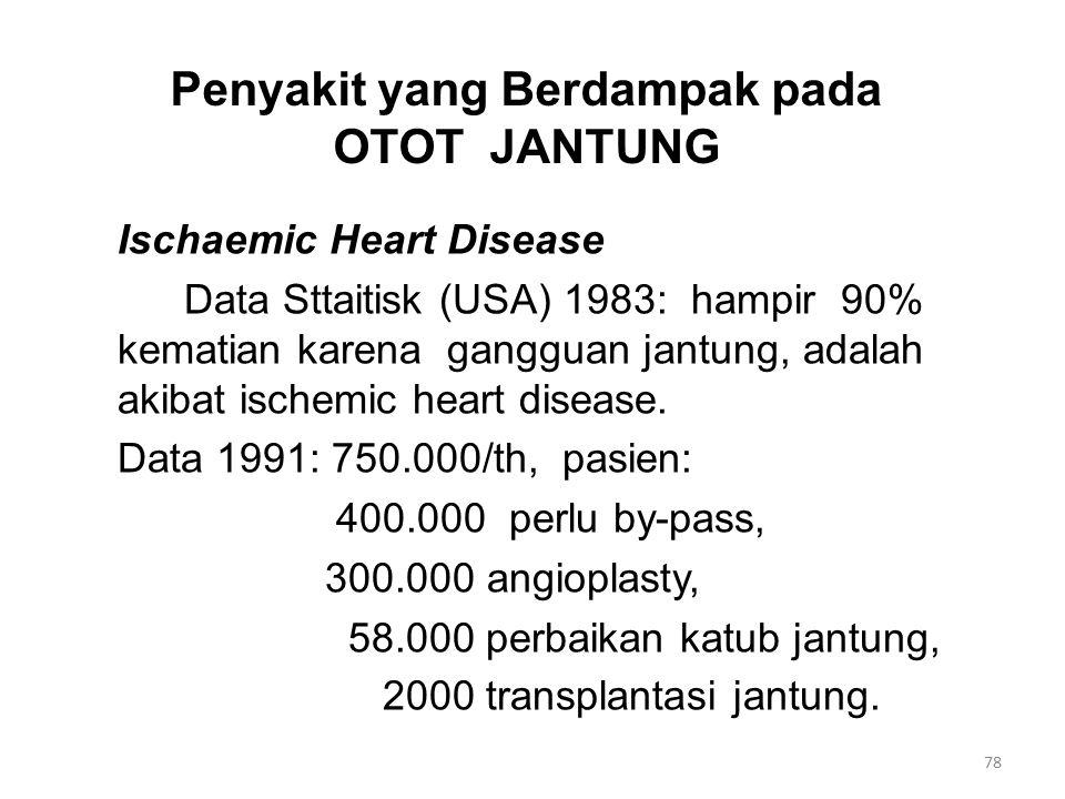 Penyakit yang Berdampak pada OTOT JANTUNG Ischaemic Heart Disease Data Sttaitisk (USA) 1983: hampir 90% kematian karena gangguan jantung, adalah akibat ischemic heart disease.