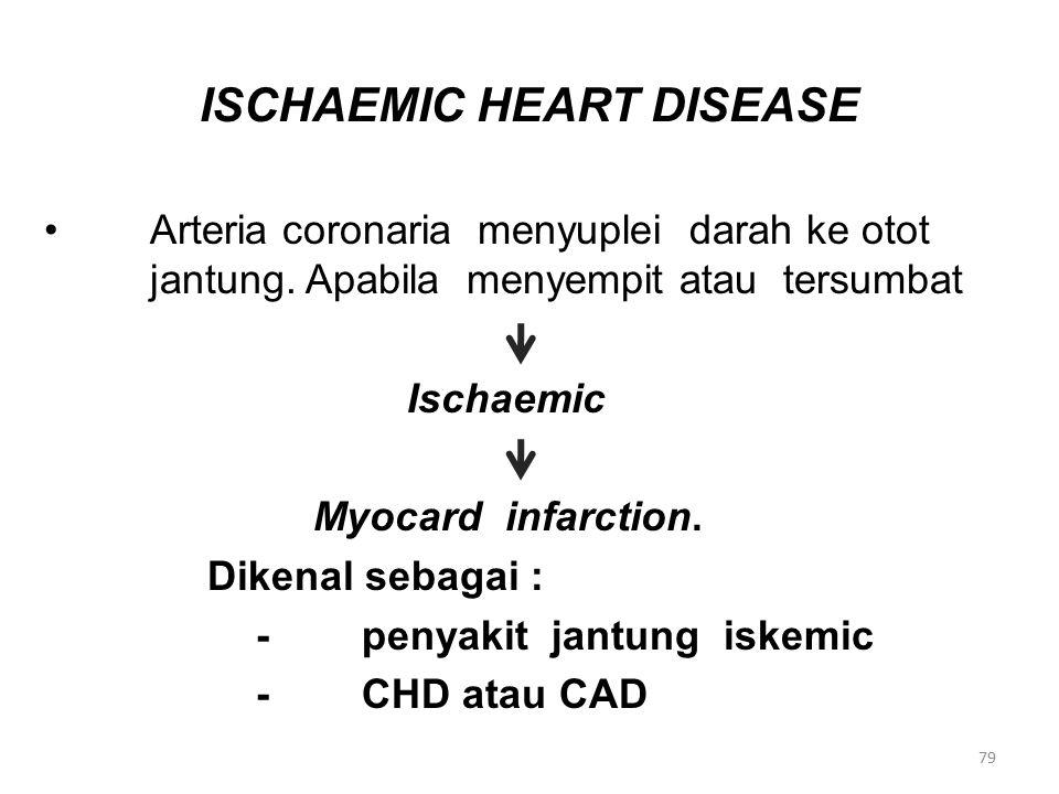 ISCHAEMIC HEART DISEASE Arteria coronaria menyuplei darah ke otot jantung.