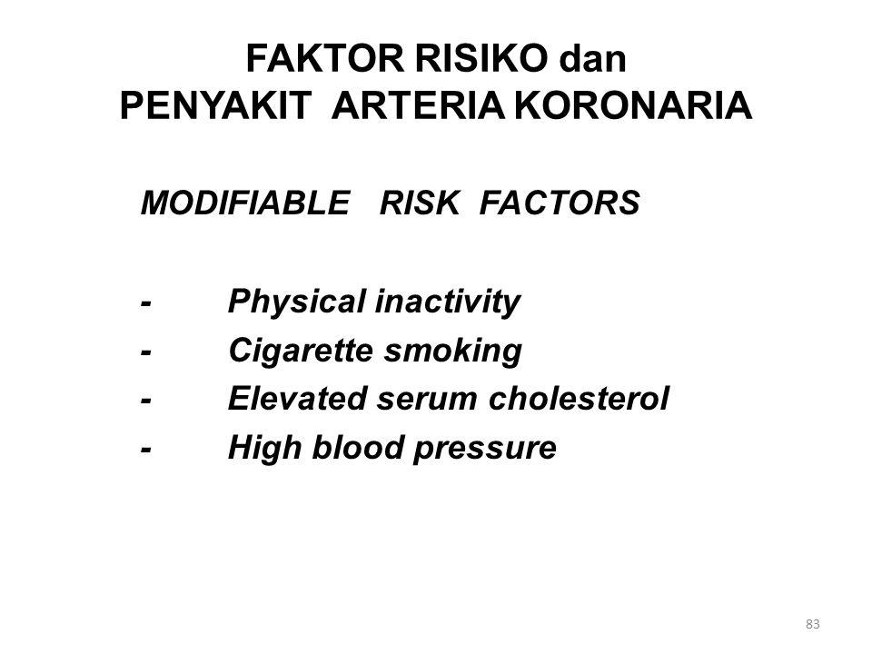 FAKTOR RISIKO dan PENYAKIT ARTERIA KORONARIA MODIFIABLE RISK FACTORS -Physical inactivity -Cigarette smoking -Elevated serum cholesterol -High blood pressure 83
