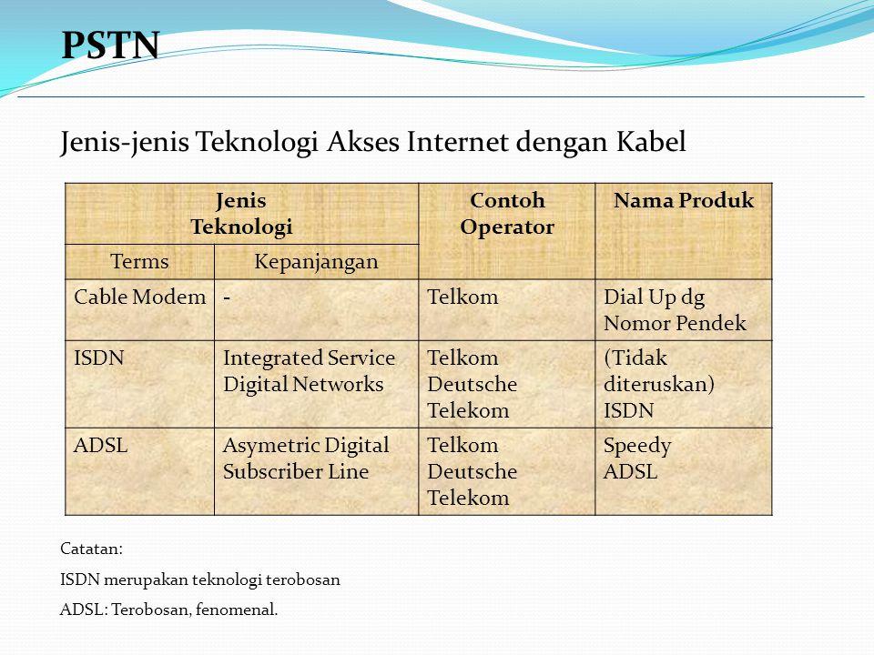PSTN Jenis-jenis Teknologi Akses Internet dengan Kabel Catatan: ISDN merupakan teknologi terobosan ADSL: Terobosan, fenomenal.