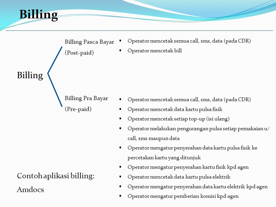 Billing Billing Pasca Bayar (Post-paid) Billing Pra Bayar (Pre-paid)  Operator mencetak semua call, sms, data (pada CDR)  Operator mencetak bill  Operator mencetak semua call, sms, data (pada CDR)  Operator mencetak data kartu pulsa fisik  Operator mencetak setiap top-up (isi ulang)  Operator melakukan pengurangan pulsa setiap pemakaian u/ call, sms maupun data  Operator mengatur penyerahan data kartu pulsa fisik ke percetakan kartu yang ditunjuk  Operator mengatur penyerahan kartu fisik kpd agen  Operator mencetak data kartu pulsa elektrik  Operator mengatur penyerahan data kartu elektrik kpd agen  Operator mengatur pemberian komisi kpd agen Contoh aplikasi billing: Amdocs