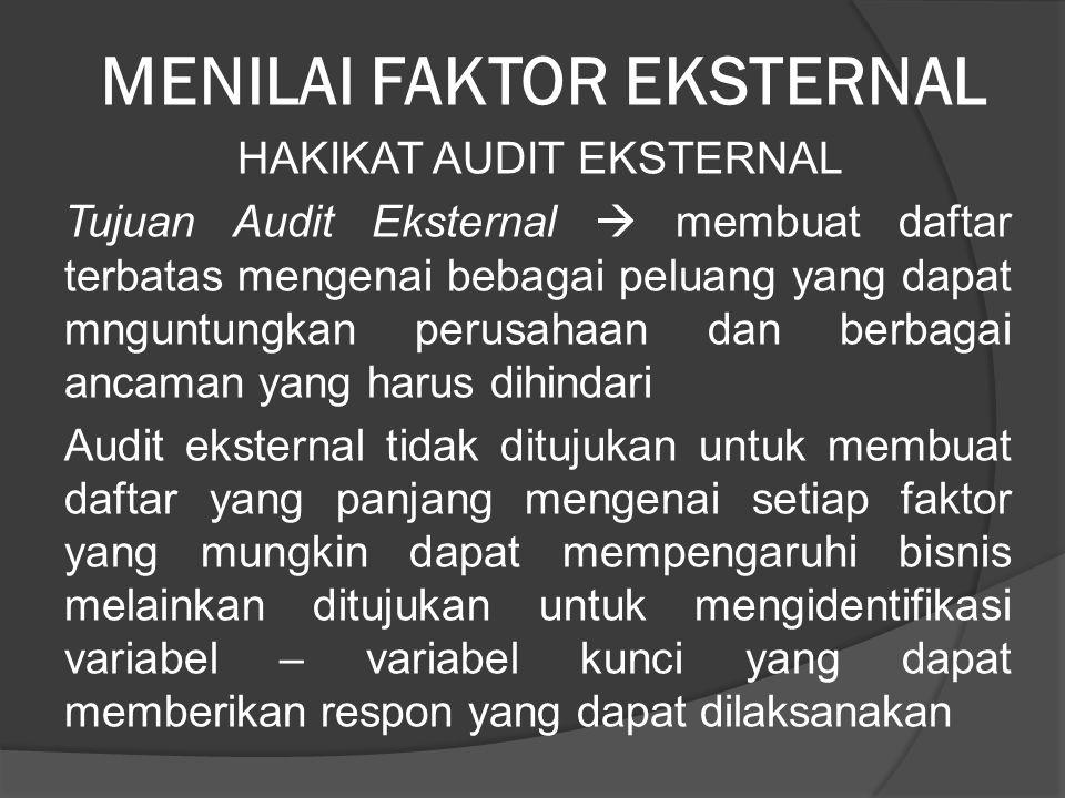 MENILAI FAKTOR EKSTERNAL HAKIKAT AUDIT EKSTERNAL Tujuan Audit Eksternal  membuat daftar terbatas mengenai bebagai peluang yang dapat mnguntungkan per