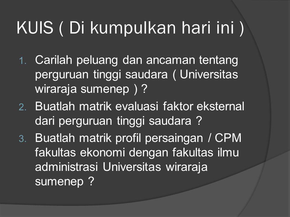 KUIS ( Di kumpulkan hari ini ) 1. Carilah peluang dan ancaman tentang perguruan tinggi saudara ( Universitas wiraraja sumenep ) ? 2. Buatlah matrik ev