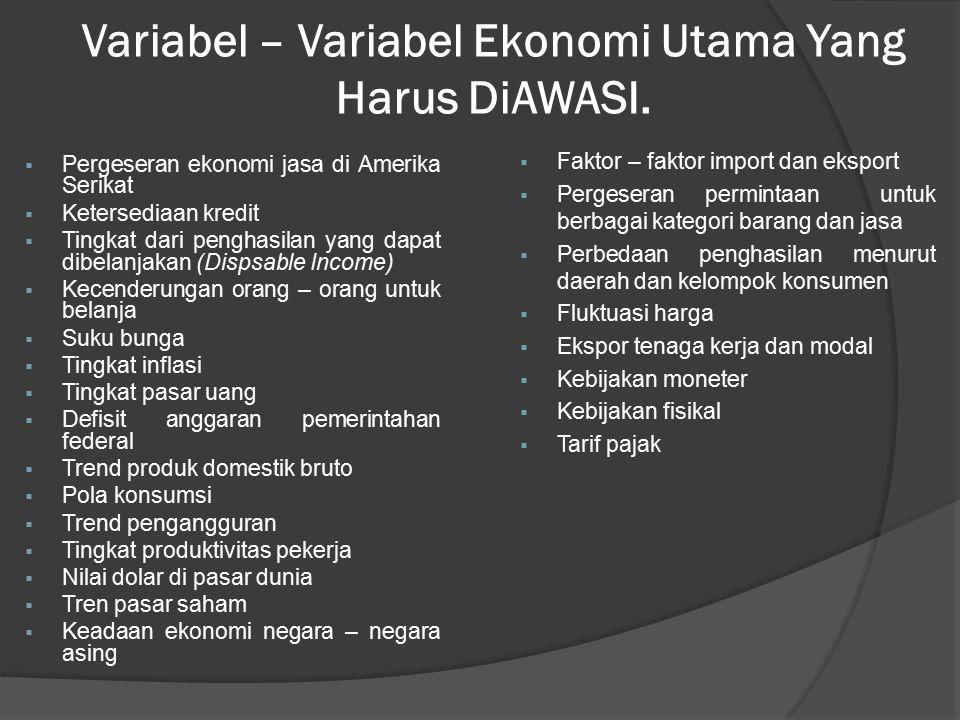 Variabel – Variabel Ekonomi Utama Yang Harus DiAWASI.  Pergeseran ekonomi jasa di Amerika Serikat  Ketersediaan kredit  Tingkat dari penghasilan ya