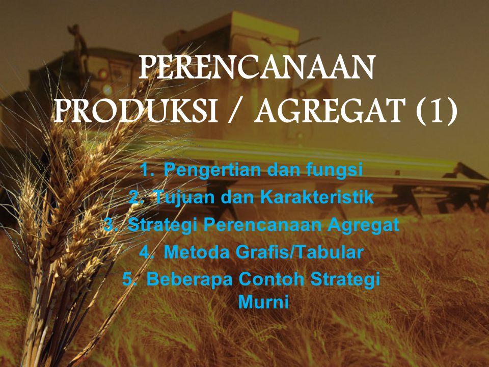 PERENCANAAN PRODUKSI / AGREGAT (1) 1.Pengertian dan fungsi 2.Tujuan dan Karakteristik 3.Strategi Perencanaan Agregat 4.Metoda Grafis/Tabular 5.Beberap
