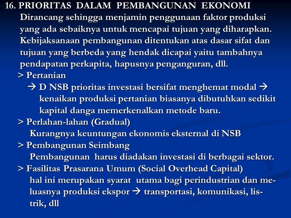 16.PRIORITAS DALAM PEMBANGUNAN EKONOMI 16.
