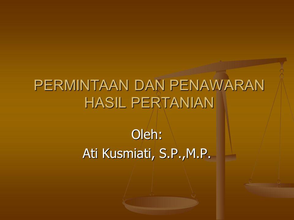 PERMINTAAN DAN PENAWARAN HASIL PERTANIAN Oleh: Ati Kusmiati, S.P.,M.P.