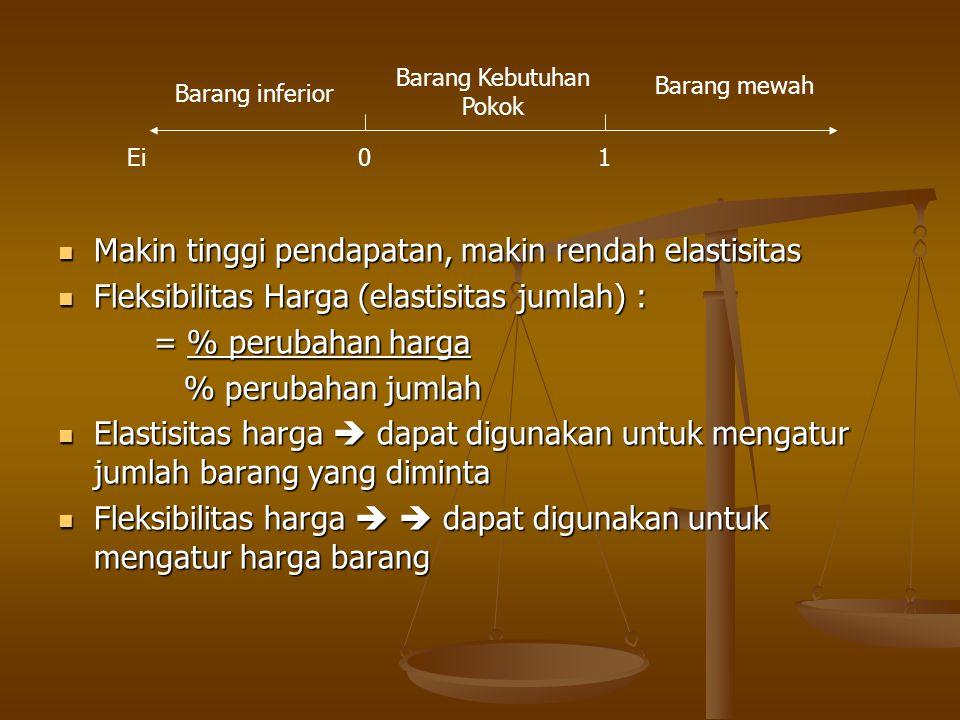 Makin tinggi pendapatan, makin rendah elastisitas Makin tinggi pendapatan, makin rendah elastisitas Fleksibilitas Harga (elastisitas jumlah) : Fleksib