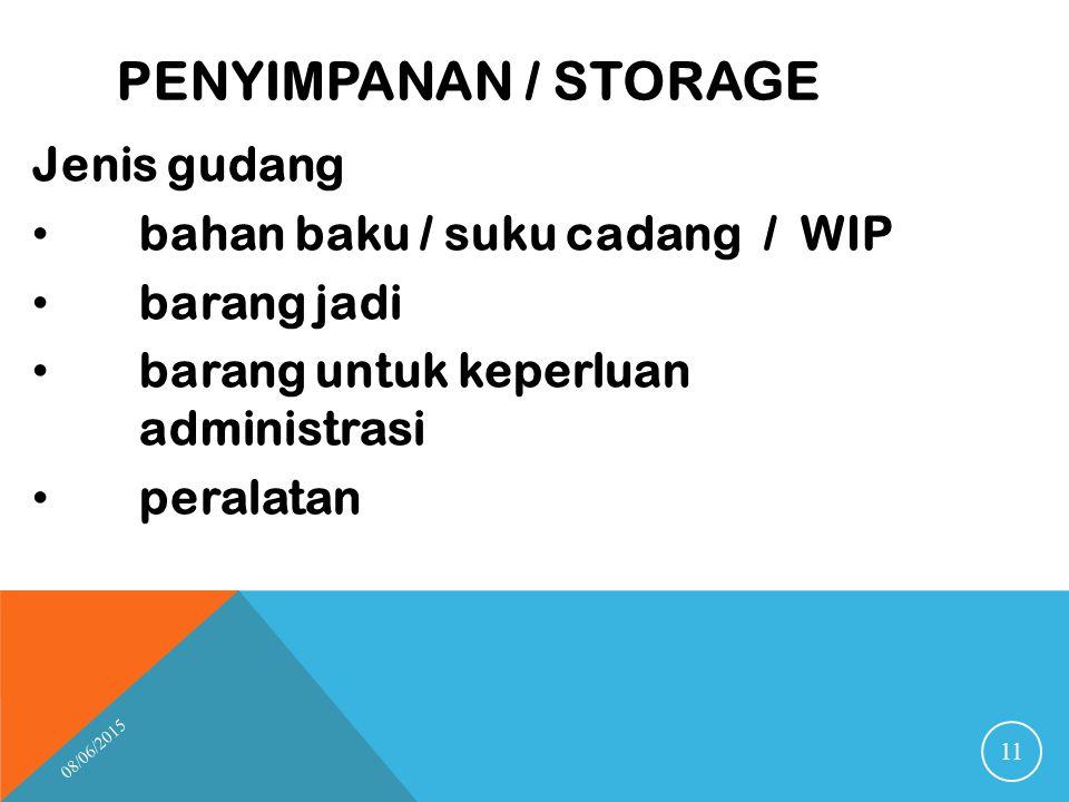 PENYIMPANAN / STORAGE Jenis gudang bahan baku / suku cadang / WIP barang jadi barang untuk keperluan administrasi peralatan 08/06/2015 11