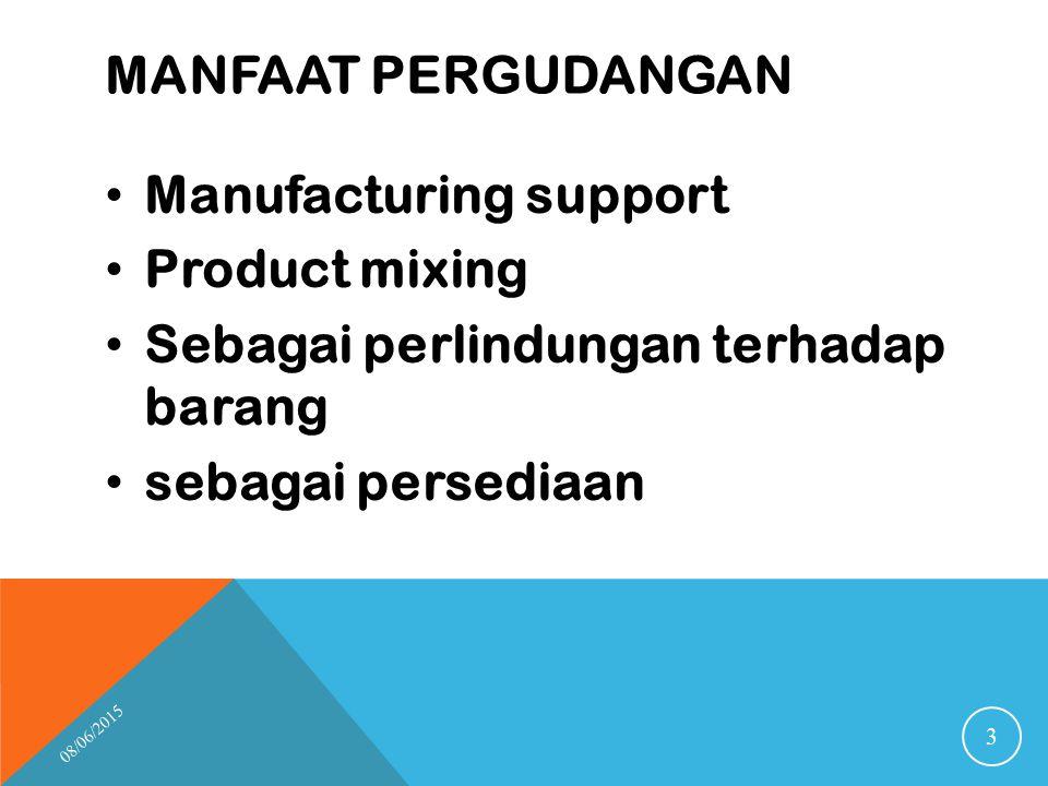 MANFAAT PERGUDANGAN Manufacturing support Product mixing Sebagai perlindungan terhadap barang sebagai persediaan 08/06/2015 3