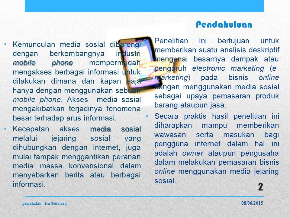 Pendahuluan mobile phoneKemunculan media sosial dibarengi dengan berkembangnya industri mobile phone mempermudah mengakses berbagai informasi untuk dilakukan dimana dan kapan saja hanya dengan menggunakan sebuah mobile phone.