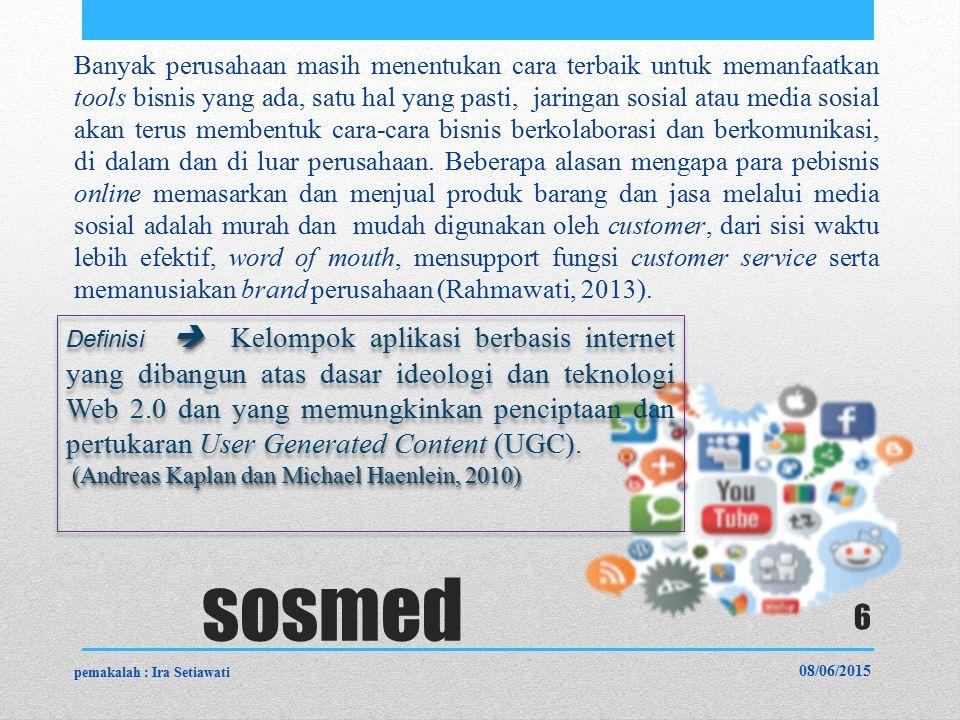 sosmed Banyak perusahaan masih menentukan cara terbaik untuk memanfaatkan tools bisnis yang ada, satu hal yang pasti, jaringan sosial atau media sosial akan terus membentuk cara-cara bisnis berkolaborasi dan berkomunikasi, di dalam dan di luar perusahaan.