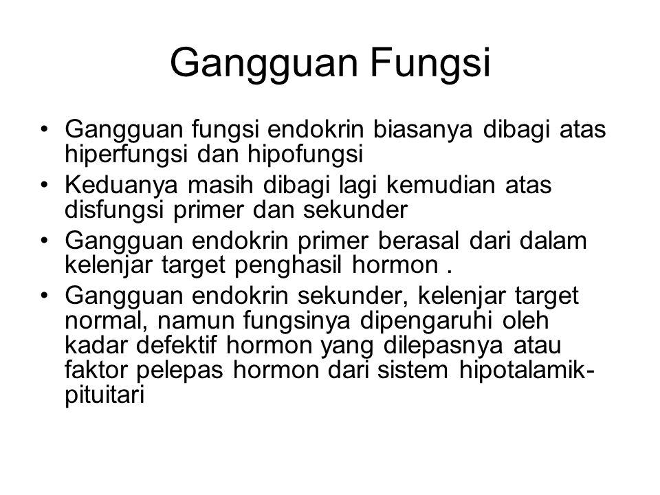 Gangguan Fungsi Gangguan fungsi endokrin biasanya dibagi atas hiperfungsi dan hipofungsi Keduanya masih dibagi lagi kemudian atas disfungsi primer dan sekunder Gangguan endokrin primer berasal dari dalam kelenjar target penghasil hormon.