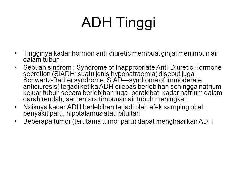 ADH Tinggi Tingginya kadar hormon anti-diuretic membuat ginjal menimbun air dalam tubuh.