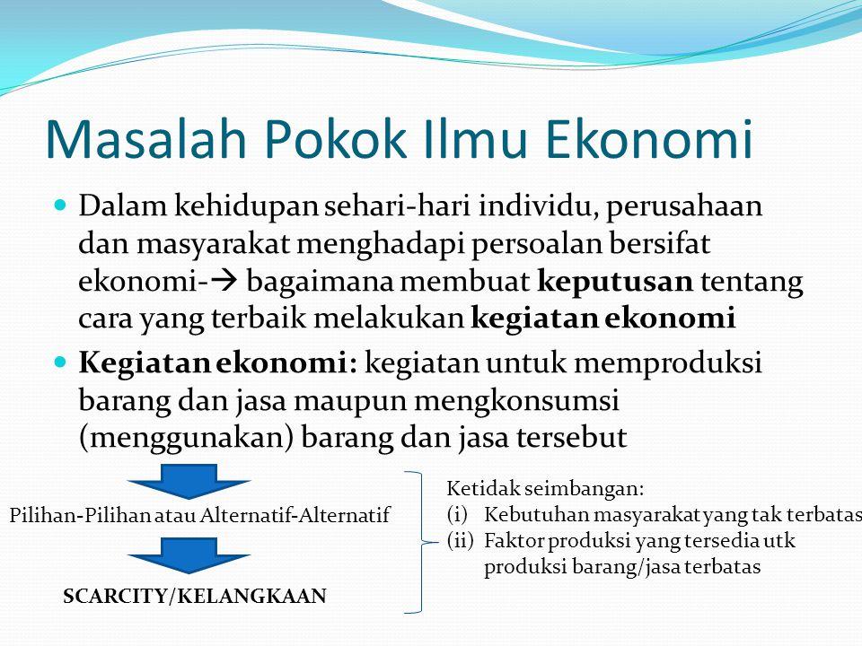Masalah Pokok Ilmu Ekonomi Dalam kehidupan sehari-hari individu, perusahaan dan masyarakat menghadapi persoalan bersifat ekonomi-  bagaimana membuat