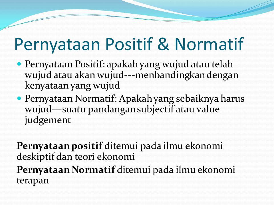 Pernyataan Positif & Normatif Pernyataan Positif: apakah yang wujud atau telah wujud atau akan wujud---menbandingkan dengan kenyataan yang wujud Perny