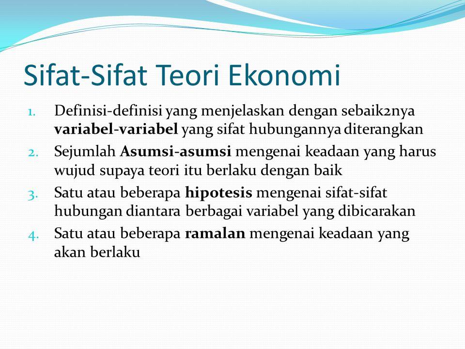 Sifat-Sifat Teori Ekonomi 1. Definisi-definisi yang menjelaskan dengan sebaik2nya variabel-variabel yang sifat hubungannya diterangkan 2. Sejumlah Asu