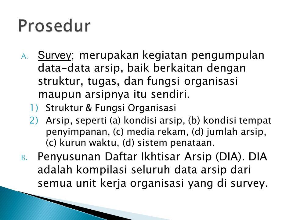 A. Survey ; merupakan kegiatan pengumpulan data-data arsip, baik berkaitan dengan struktur, tugas, dan fungsi organisasi maupun arsipnya itu sendiri.
