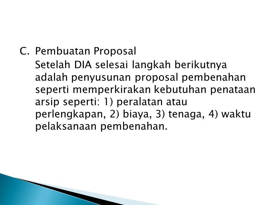 C.Pembuatan Proposal Setelah DIA selesai langkah berikutnya adalah penyusunan proposal pembenahan seperti memperkirakan kebutuhan penataan arsip seper