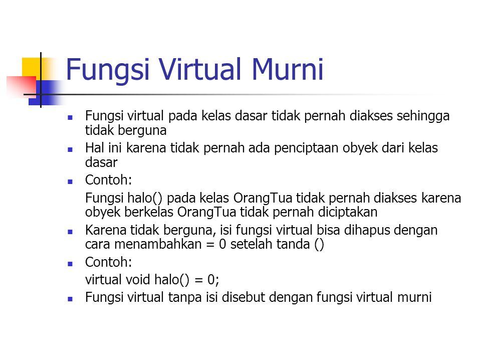 Fungsi Virtual Murni Fungsi virtual pada kelas dasar tidak pernah diakses sehingga tidak berguna Hal ini karena tidak pernah ada penciptaan obyek dari kelas dasar Contoh: Fungsi halo() pada kelas OrangTua tidak pernah diakses karena obyek berkelas OrangTua tidak pernah diciptakan Karena tidak berguna, isi fungsi virtual bisa dihapus dengan cara menambahkan = 0 setelah tanda () Contoh: virtual void halo() = 0; Fungsi virtual tanpa isi disebut dengan fungsi virtual murni